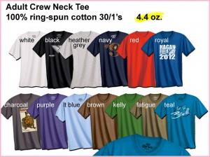 adult crew neck tee